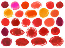 Watercolour marker circle vector textures similar to the women's lipstick, cosmetics. Design elements bright red colors Stock Photo