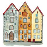 Watercolour medieval houses three brothers in Tallinn stock illustration