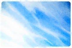 Watercolour niebieskie niebo z chmurami Zdjęcia Royalty Free