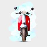 Watercolour obraz czerwony motocykl na bielu ilustracja wektor