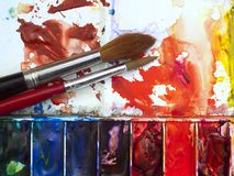 Watercolour paintbox Stock Photo