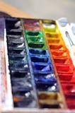 Watercolour paintbox Fotografia Stock