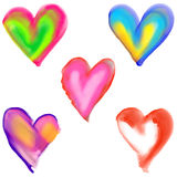 Watercolour Painted Love Heart Shapes Royalty Free Stock Photo