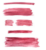 Watercolour Painted Set Buttons / Lines with burgundy color Royalty Free Stock Photo