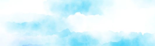 Overcast above the cloud watercolour painting. Watercolour painting blue sky overcast above the cloud in panorama view beautiful cloudscape for background royalty free illustration