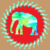 Watercolour painting bright green elephant in red round backgro. Und with watercolor leaves, cute illustration for design T-shirts, clothing, phone cases, fabric stock illustration