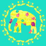 Watercolour painting bright yellow elephant, cute illustration f. Or design T-shirts, apparel, phone cases, dishes, vector Royalty Free Stock Images