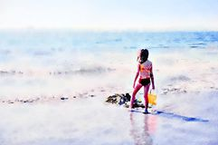 Watercolour painting. Child on beach looking out to sea. Watercolour painting. Back view of young girl holding an orange bucket on a sandy beach in summer royalty free stock image