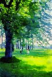 Watercolour painting. Children playing in English countryside woodland. Watercolour painting of two tiny young children running through woodland in the English stock images