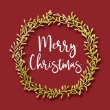Watercolour painting decoration flowers and leaf frame with Merry Christmas text royalty free illustration