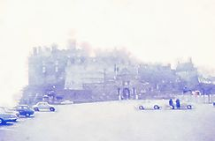 Watercolour painting. Edinburgh castle car park on misty morning. Watercolour painting of Edinburgh castle from the car park on a misty morning. Washed out pale royalty free stock images