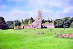 Watercolour painting. Franciscan friary ruins and golf course, Ireland. Watercolour painting of the old Franciscan friary at the Adare Manor golf club in stock photos