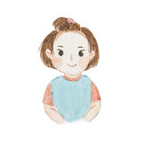 Watercolour painting happy cute little girl portrait. Cute cartoon isolate on white background Royalty Free Stock Image