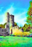 Watercolour painting of Irish castle tower ruin. Vertical. Watercolour painting of an Irish castle tower ruin. Blue sky, trees and a few sutle people on the vector illustration