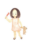 Watercolour painting lonely girl holding bear doll. Cute cartoon isolate on white background Royalty Free Stock Images