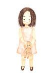 Watercolour painting lonely girl holding bear doll Royalty Free Stock Images