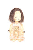 Watercolour painting lonely girl holding bear doll. Cute cartoon isolate on white background Stock Photography