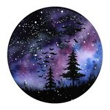 Watercolour painting Northern lights space landscape. Violet, black and blue colors. Modern new round illustration with vector illustration