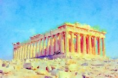 Watercolour painting. Parthenon, ruins on the Acropolis, Athens, Greece. Watercolour painting of the Parthenon, ancient monument ruins on the Acropolis, in stock photography