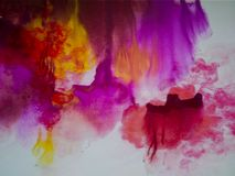 Watercolour painting with pink and purple colors. Watercolour painting splash with pink and purple colors royalty free stock photography