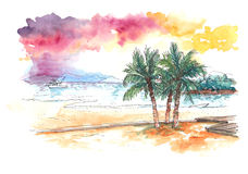 Watercolour painting of sunset at tropical beach Royalty Free Stock Photos