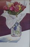 Watercolour Painting Vase of Roses stock photography