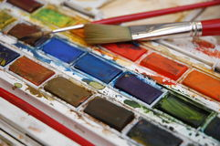 Watercolour paints Stock Images