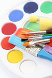 Watercolour paints Stock Photography