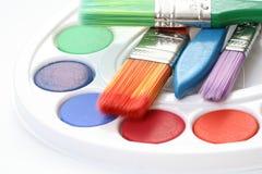 Watercolour paints Stock Images