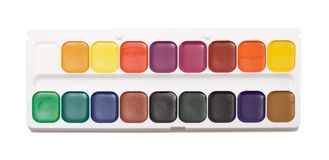 Watercolour paints palette Royalty Free Stock Photo