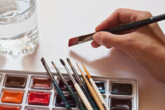 Watercolour paints set Royalty Free Stock Photography