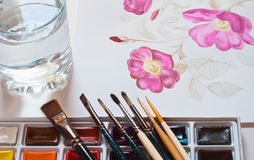 Watercolour paints set Stock Images