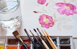 Watercolour paints set Stock Images