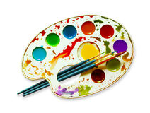 Watercolour palette. Plastic watercolor art palette with brushes on white background Stock Photos