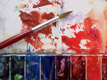 Watercolour palette Stock Photos