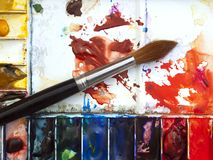 Watercolour palette Stock Photo