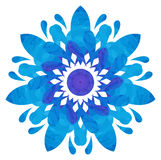 Watercolour pattern - Blue abstract flower Royalty Free Stock Image