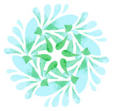 Watercolour pattern - Blue green abstract flower Stock Image