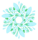 Watercolour pattern - Blue green abstract flower Royalty Free Stock Image
