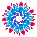 Watercolour pattern - Blue-rose abstract flower Stock Image
