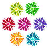 Watercolour pattern - Set of 7 abstract flowers Stock Image