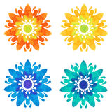 Watercolour pattern - Set of four abstract flowers Royalty Free Stock Photos