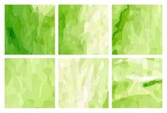Watercolour pattern - Set of green patterns Royalty Free Stock Photo
