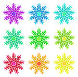Watercolour pattern - Set of nine abstract flowers Royalty Free Stock Images