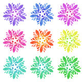 Watercolour pattern - Set of nine abstract flowers Royalty Free Stock Photos