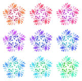 Watercolour pattern - Set of nine abstract flowers Stock Image
