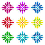 Watercolour pattern - Set of nine abstract flowers Stock Photo
