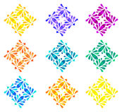 Watercolour pattern - Set of nine abstract flowers Stock Images