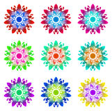 Watercolour pattern - Set of nine abstract flowers Royalty Free Stock Photo