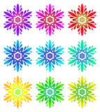 Watercolour pattern - Set of nine abstract flowers Stock Photos